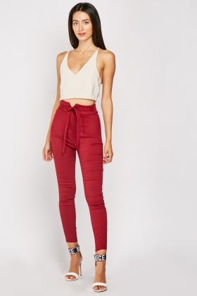 Tie Up High Waisted Skinny Trousers $6.40
