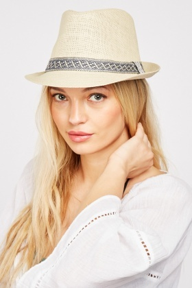Brocade Trim Trilby Hat