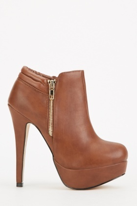 Brown High Heeled Ankle Boots