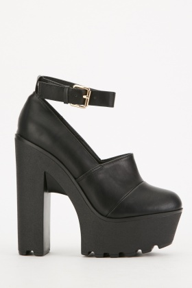 Chunky Ankle Strap Block Heels