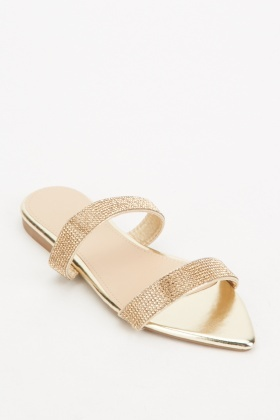 Encrusted Strappy Flat Shoes