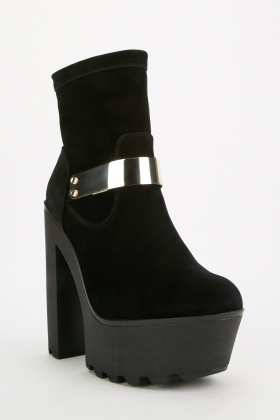 Suedette Chunky Ankle Boots