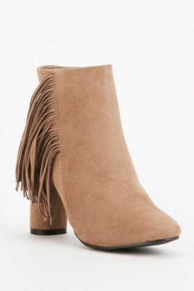 Taupe Fringed Ankle Boots