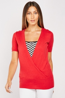 Zig-Zag Top Attached Knit Top