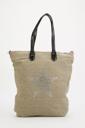 Star Studded Tote Canvas Bag