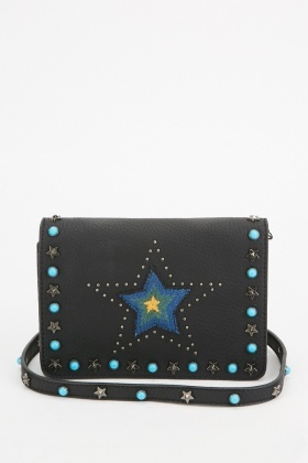 Studded Star Patch Cross-Body Bag