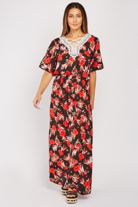 Crochet Trim Maxi Floral Dress
