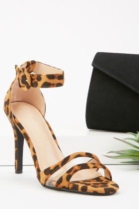 Printed Barely There Heel Sandals