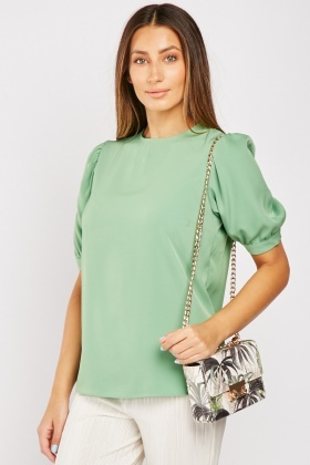 Short Gathered Sleeve Top