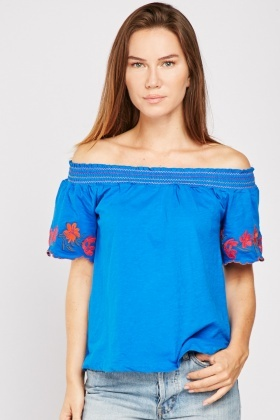 Embroidered Scallop Cotton Sleeve Top