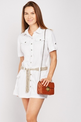 Macrame Belted Utility Dress