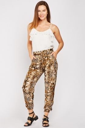 Python Skin Print Casual Trousers