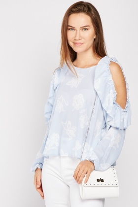 Ruffle Printed Cold Shoulder Blouse