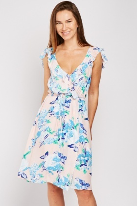 Floral Wrap Ruffle Dress