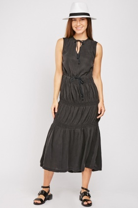 Shirred Panel Midi Dress
