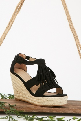 Suedette Fringe Detail Wedge Sandals