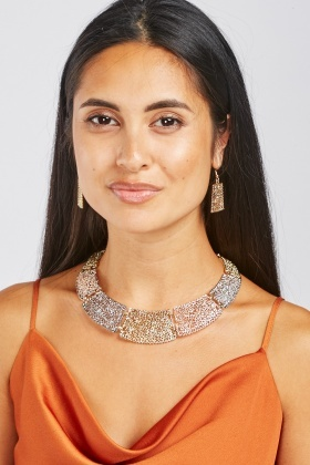 Choker Necklace And Drop Earrings Set
