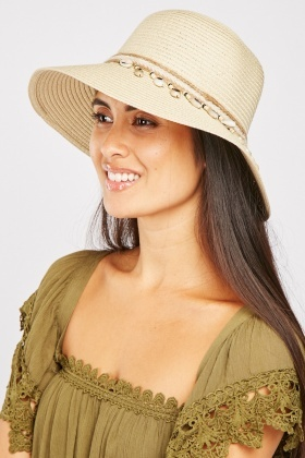 Faux Sea-Shell Trim Straw Hat