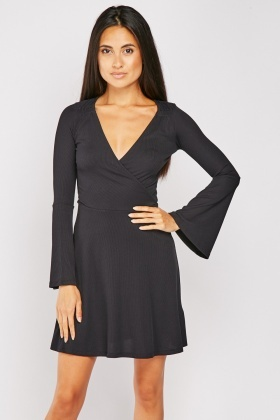 Flared Sleeve Ribbed Black Dress