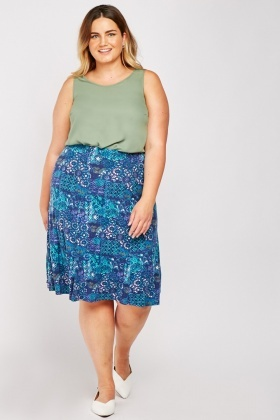 Arabesque Print Flared Skirt