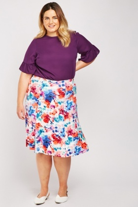 Watercolour Printed Flared Skirt
