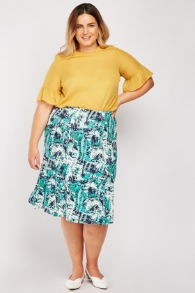 Printed Midi Flared Skirt