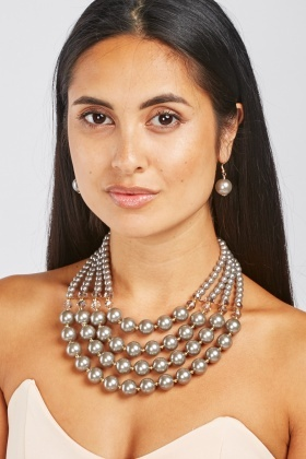 Faux Pearl Layered Necklace And Earrings Set