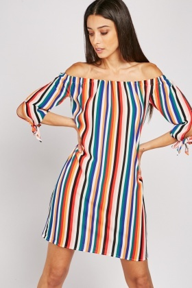 Off Shoulder Striped Shift Dress