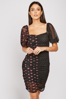 Polka Dot Gathered Mesh Dress