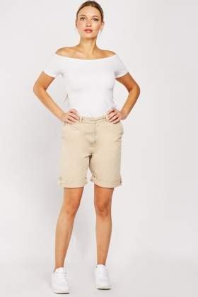 Adjustable Hem Cotton Shorts
