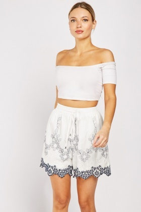 Embroidered High Waisted Shorts