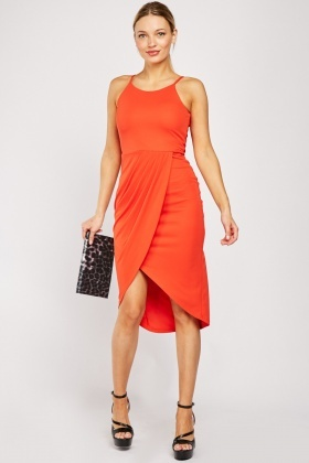 Halter Neck Orange Red Wrap Dress