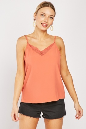 Mesh Embroidered Trim Cami Top