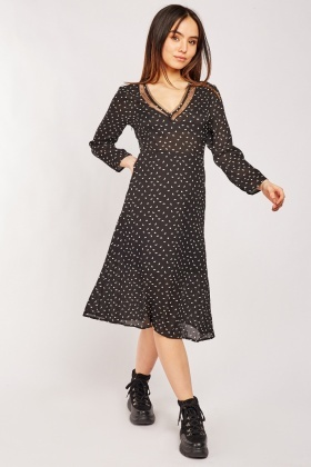 Mesh Back Midi Polka Dot Dress