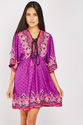Lace Up Ethnic Print Dress