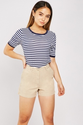 Mid Rise Cotton Chino Shorts