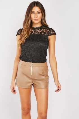 Zipper Front Faux Leather Shorts
