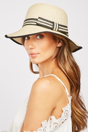 Bow Striped Trim Hat