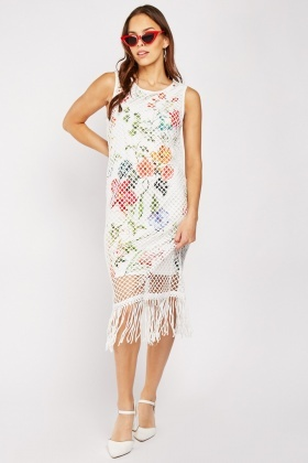 Fishnet Overlay Floral Dress