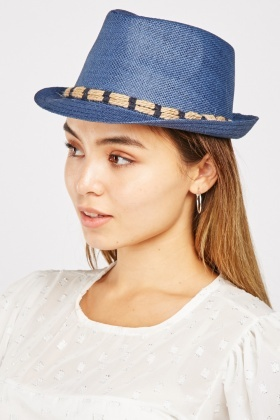 Rope Trim Trilby Straw Hat