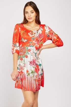 Encrusted Floral Contrast Print Dress