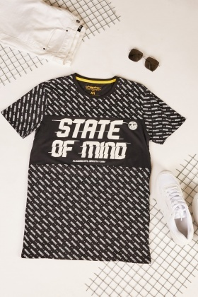 Lettering Graphic Print Cotton T-Shirt