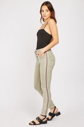 Stripe Metallic Side Jeans
