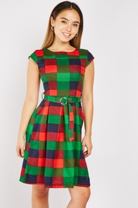 Checkered O-Ring Buckle Belt Dress