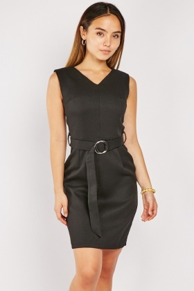 O-Ring Buckle Belt Black Dress