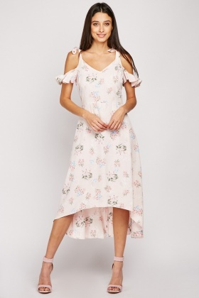 Floral Dip Hem Midi Dress