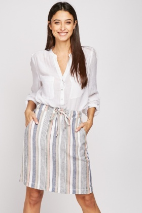High Waist Multi-Striped Skirt