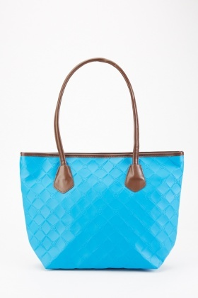 Blue Textured Tote Bag