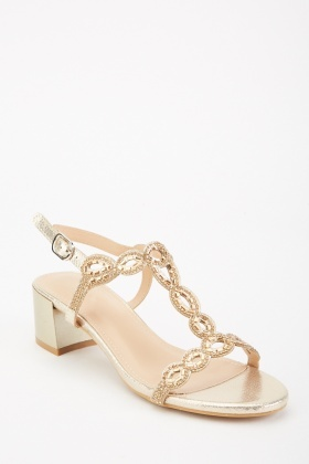 Gold Encrusted Block Heels