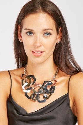 Hexagonal Necklace And Stud Earrings Set